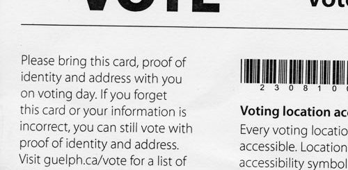 Part of a guelph civic voter card