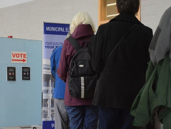 Voters lining up at a Guelph polling station
