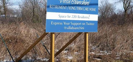 Sign at the Villa Bianchini site