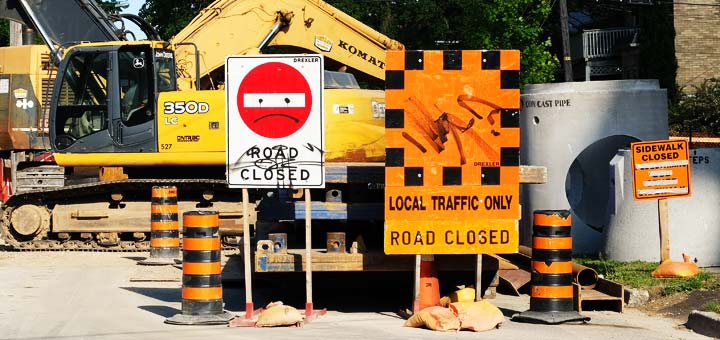 Construction on Neeve Street at Ontario