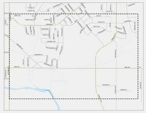 Map of the area surrounding the York Road east of Victoria Drive