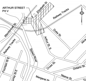 location map showing the are of construction on Elizabeth and Arthur Streets