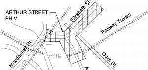 outline map showing the Arthur Elizabeth rebuild construction area