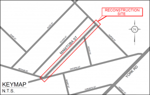 Sketch map showing location on Manitoba Street within the Ward neighborhood
