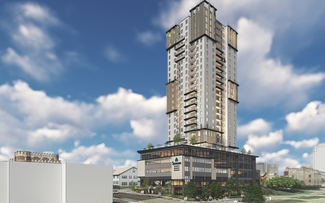 Rendering of the East view of 70 Fountain Street at Wyndham