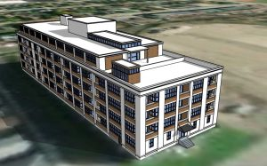 3D rendering of 120 Huron St with proposed 5th story