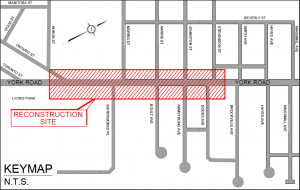 Map of York Road construction area